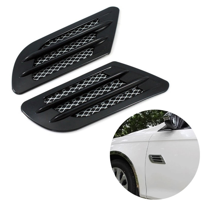 2Pcs ABS Plastic Car Auto Side Vent Air Flow Fender Intake Sticker for Fender Hole Cover Intake Grille Decor CSL2017