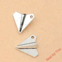 Antique Silver Tone Paper Airplane Charms Pendants Fashion Jewelry DIY Jewelry Making Handmade 17x19mm