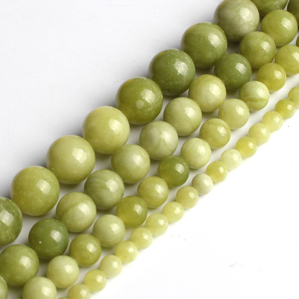 Natural China Jade Beads  Round Loose Beads For Jewelry Making 6 8 10 Mm Pick Size 15 Inches  DIY Necklace(Green)
