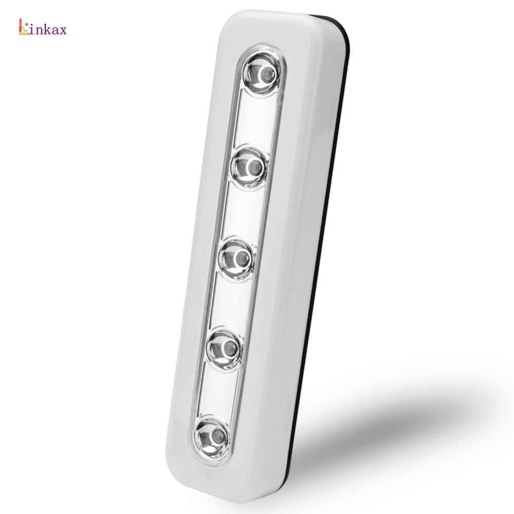 5-LED แสงสีขาว LED Power โดย 3 x AAA แบตเตอรี่กาวเทปติดตั้งง่ายสำหรับตู้,ลิ้นชัก