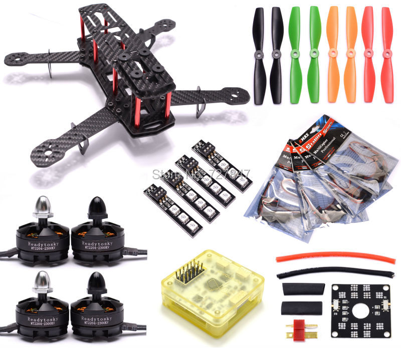 Mini 250 Carbon Fiber Quadcopter CC3D EVO Flight Controller Emax / Littlebee Esc MT2204 2300kv Motor 5045 Propeller for QAV250 mini zmr250 carbon fiber quadcopter cc3d evo control mt2204 2300kv motor emax blheli firmware 20a esc 5045 prop led lights board