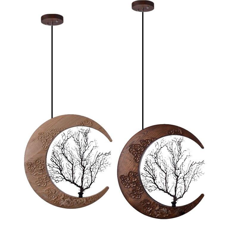 Solid wood engraving pendant lights bedside corridor Moon stlye Wood pendant lamp Living roon LED art hanging lights moon flac wood
