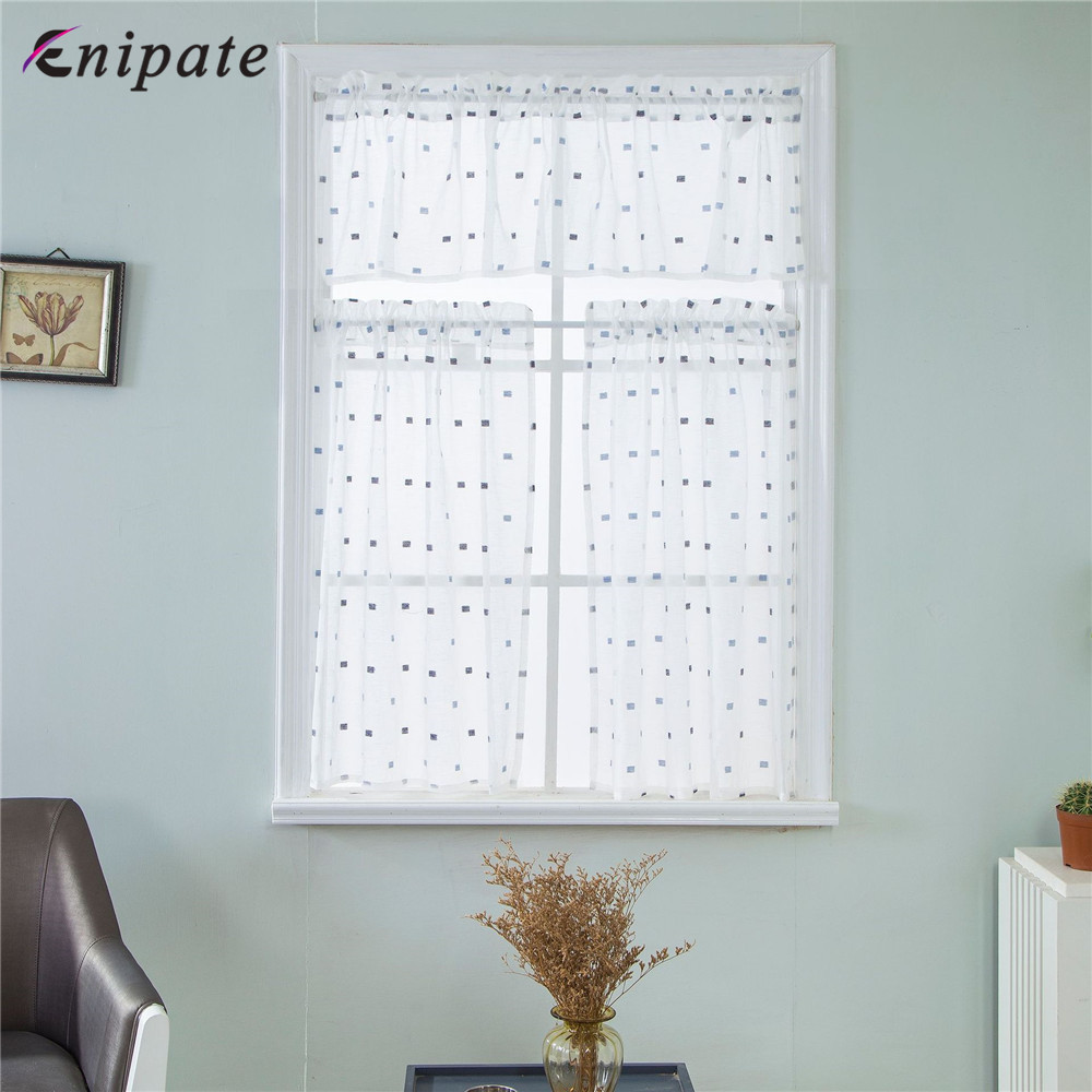Enipate 1PC Modern White Lace Window Curtain Valance Lace