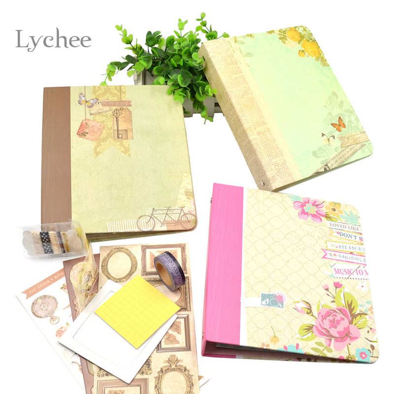 Lychee 1 Set Ring Binder Vintage Scrapbooking Album Case Binding Scrapbook Kit Sweet Floral Pattern Loose-leaf Photo Album