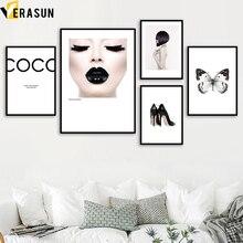 VERASUN Coco Butterfly Tapeta Umělecké plátno Malba Posters a tisky Pop Art Plakát Wall Obrázky Obývací pokoje Dekorace Quadro