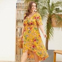 Original design with V-neck short-sleeved high waist front short long grow large size women's printed dress plaid dress