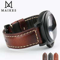 MAIKES High Quality Genuine Leather Watchband Black Buckle Watch Accessories Seiko Watch Strap 22mm 24mm 26mm