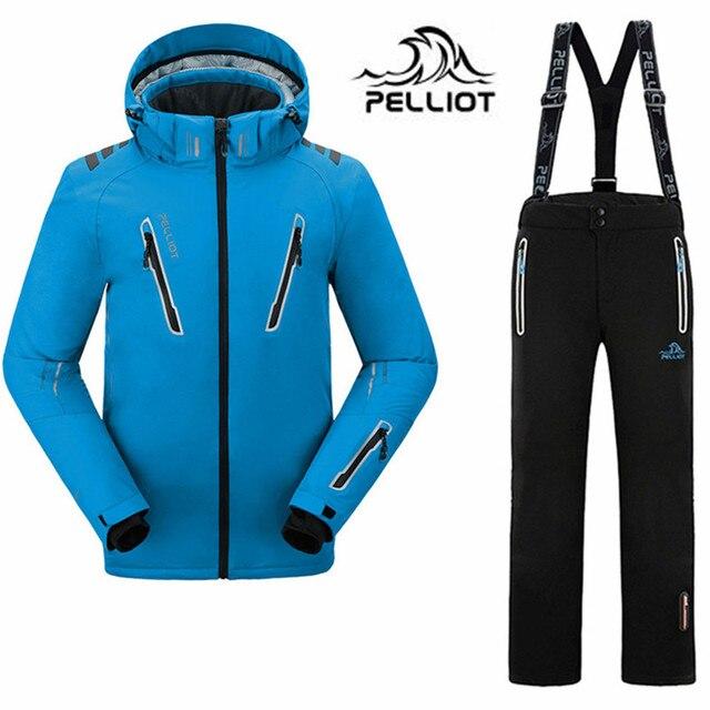Cheap 2016 Pelliot brand mens ski suits snowboard jacket pants men waterproof,breathable thermal cotton-padded super warm