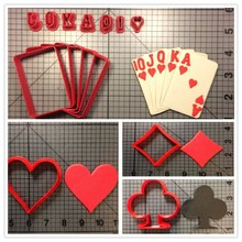 Poker Club Diamond Heart Flush Carde Custom Made 3D Printed Cookie Cutter Set Fondant Cupcake Top