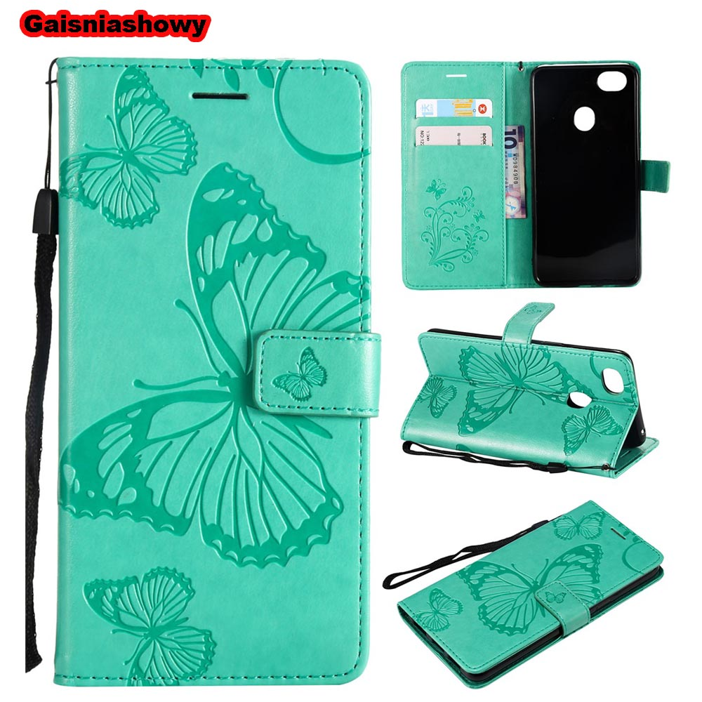 Case For OPPO F7 Cut 3D Butterfly Stand PU Leather Flip Case For OPPO F7 Phone Case Cover Shell Coque