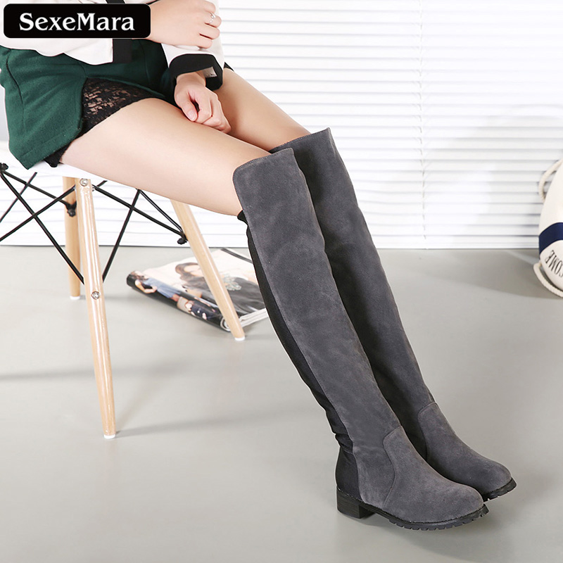 ФОТО SexeMara 2016 Winter Ladies Fashion Suede Leather Over The Knee Boots Sexy Round Toe Thigh High Boot Black Shoes Thick Heel