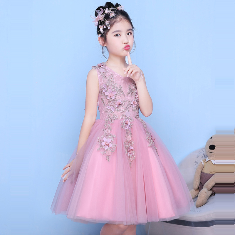 2018 Flower Girl Dress Knee-Length Princess Dresses V-neck Ball Gown Appliques Summer Wedding Dress Kid Evening Party Gown E217 new girls dress summer lace vest sleeveless princess peng baby girl children england style knee length crew neck ball gown