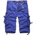 Verano Nuevo Multi Bolsillos Pantalones Cortos de Los Hombres 90% Algodón Ocasional Floja Debajo de la Longitud de La Rodilla Shorts Ejército Corredores Bermudas Trajes Blanco
