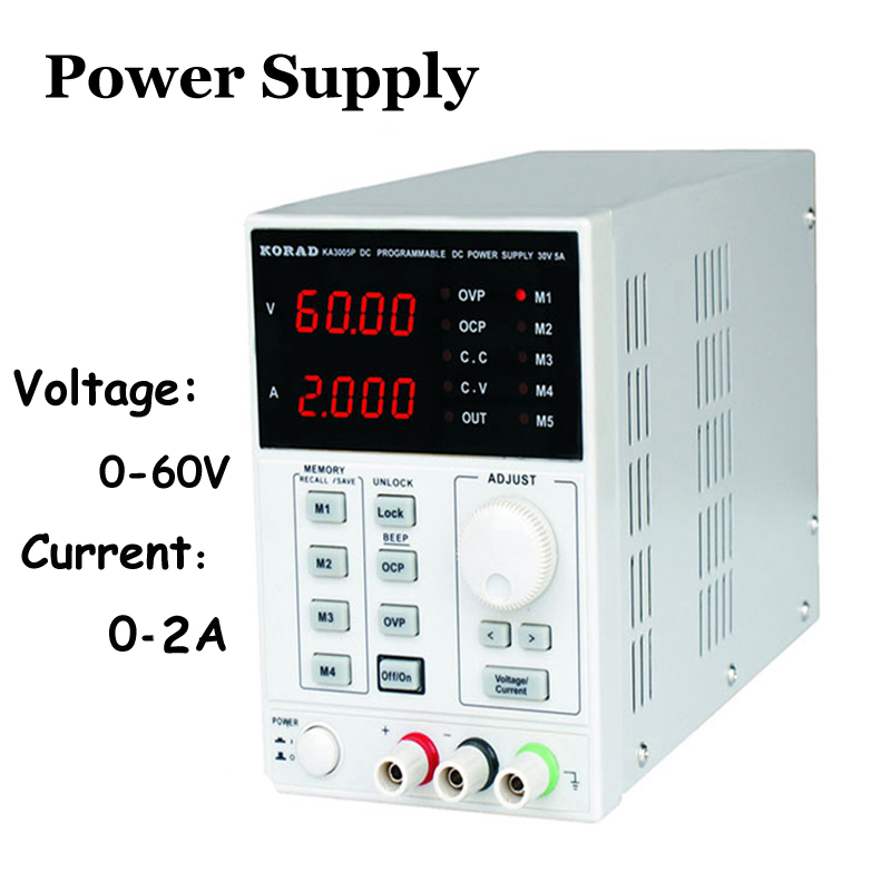 Adjustable Digital Voltage Regulators High Precision Adjustable Digital DC Power Supply mA 0~60V 0~2A for Laboratory KA6002D