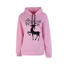 Winter Autumn Female Thickening Sweatshirt Fashion Snow Deer Cashmere Girl Sweatshirt Full Sleeve Solid Pullovers Hoodie(China)