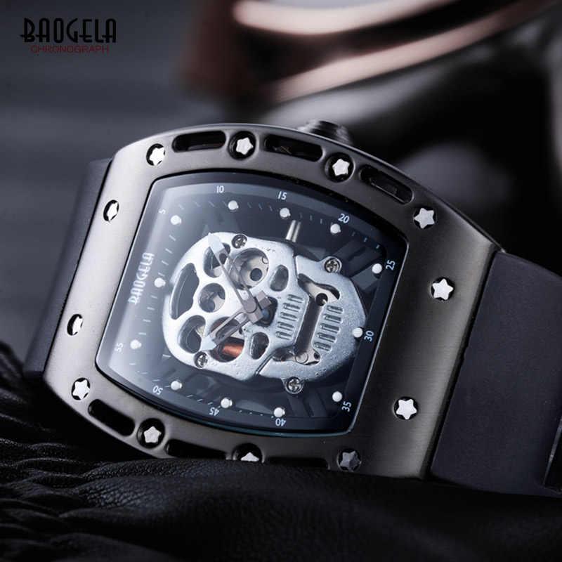 Мужские кварцевые часы BAOGELA, Роскошные наручные часы черного цвета с черепом, водонепроницаемые часы, модель HHB 1612