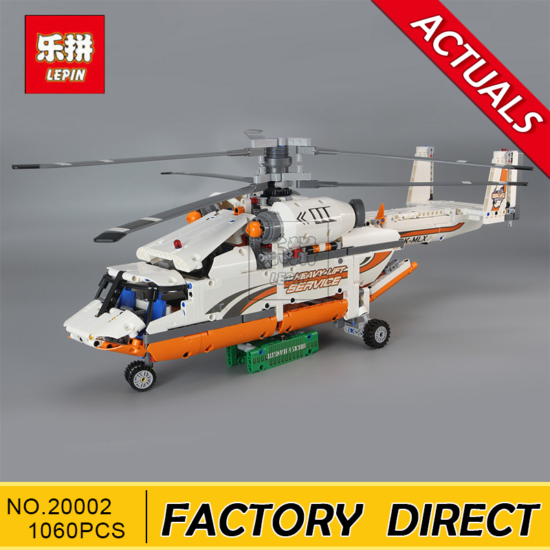Lepin 20002 technic series 1060pcs Double rotor transport helicopter Model Building blocks Bricks Compatible 42052 Boy toys lepin 02004 356pcs city series volcanic expedition transport helicopter model building blocks bricks toys for children gift