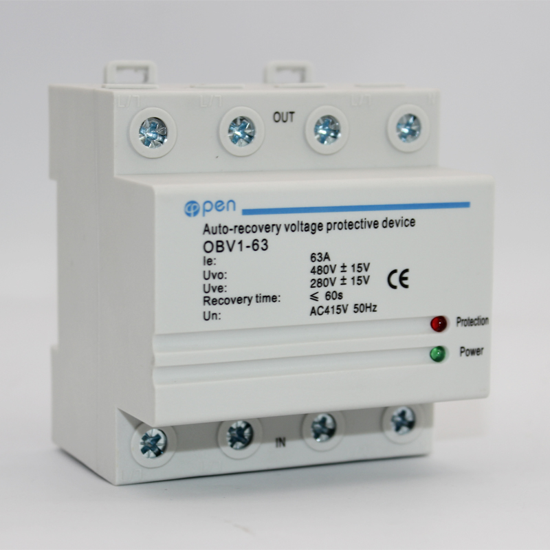63A 380V~ Three Phase four wire Din rail automatic recovery reconnect over voltage and under voltage protective protection relay63A 380V~ Three Phase four wire Din rail automatic recovery reconnect over voltage and under voltage protective protection relay