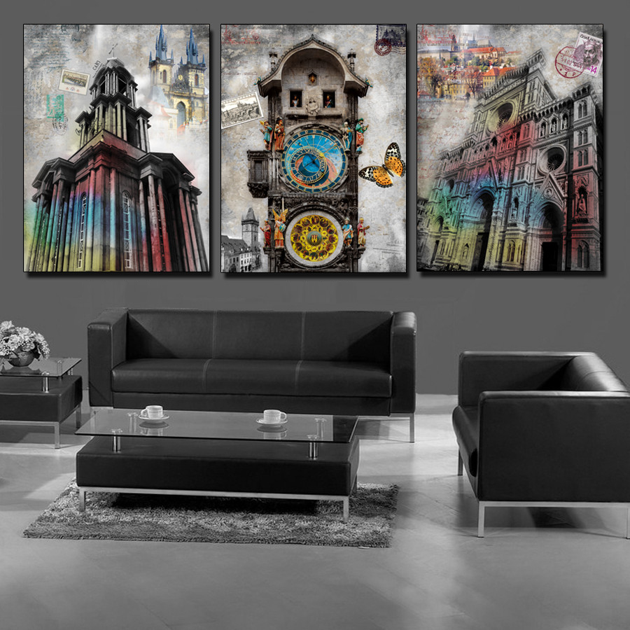 3 Panels Unframed Building Notre Dame De Paris Wall Art Picture Home Decor Oil Painting Onthe Canvas Retro Style Decal In Calligraphy From