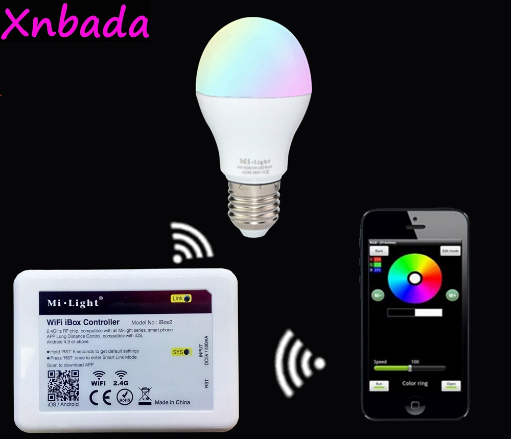 US $7 14 |Mi light 2 4G E27 Led Bulb 6W RGBW RGBWW Led Lamp AC85 265V+Wifi  Ibox Led Controller+2 4G RGBW Touch Panel Remote-in LED Bulbs & Tubes from