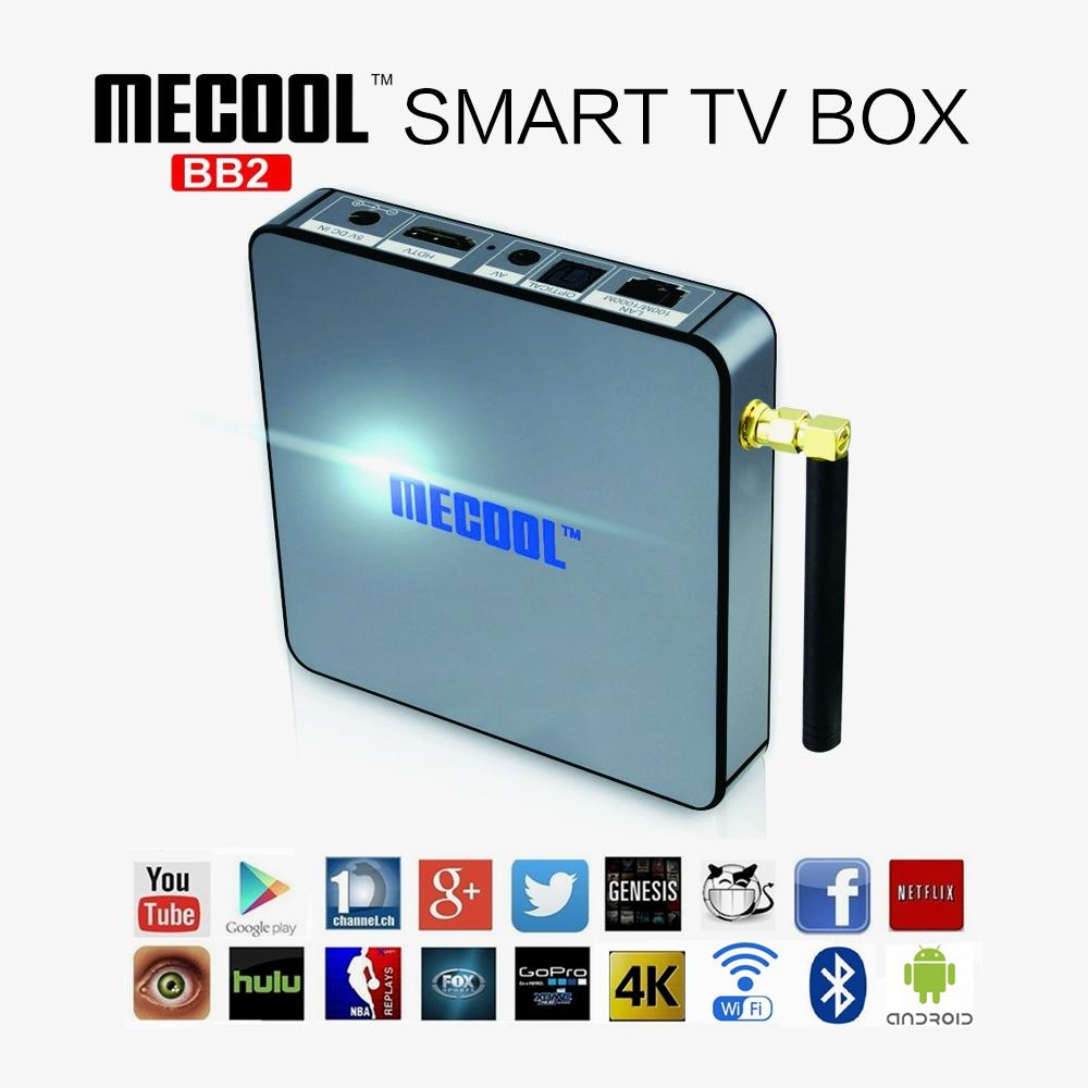 Prix pour MECOOL BB2 Android TV Box 2G 16G Amlogic S912 Octa Core 4 K H.265 Décodage 2.4G + 5G Double Bande WiFi Bluetooth Kodi 17.0 Lecteur