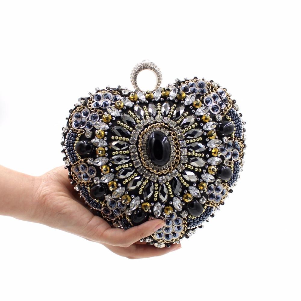 ФОТО New 2017 European and American gem diamond heart-shaped beaded evening bag full diamond evening clutch Heavy work wedding clutch