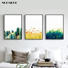 Nordic Plant Flowers Posters and Prints Cactus Wall Art Canvas Painting Pictures for Living Room Forest Landscape Decoration