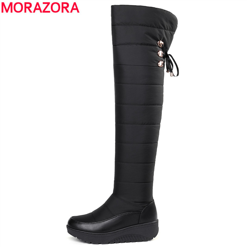 MORAZORA 2018 Newest wedges platform snow boots lace up thigh high boots thick fur winter over the knee boots ladies footwearMORAZORA 2018 Newest wedges platform snow boots lace up thigh high boots thick fur winter over the knee boots ladies footwear
