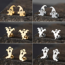 Cute Cartoon Stainless Steel Golden & Silver Stud Earrings for Women 2019 Fashion Earrings Jewlery for Halloween gift Ghost Punk(China)