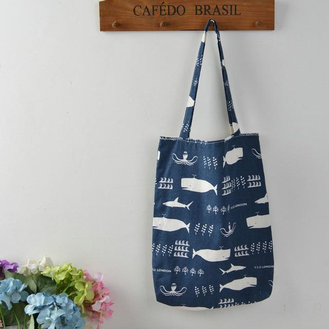 Whale Print Cotton Beach Bag 3