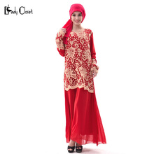 2017 Abaya Hollow flower hook chiffon dress turkish women clothing Islamic muslim dresses Fashion Plus size