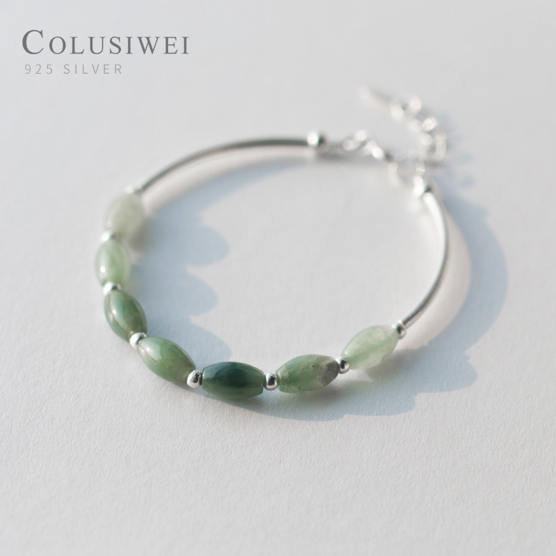 Colusiwei Oval Shape Natural Green Jade Chain Bracelet and Bangle genuin 925 Sterling Silver Elegant Women Anniversary Jewelry
