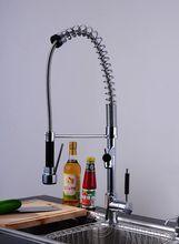 Горячая распродажа нью-brass хром палуба гора одной ручкой вытащить и спрей поток кухонной мойки судно смесители для кухни
