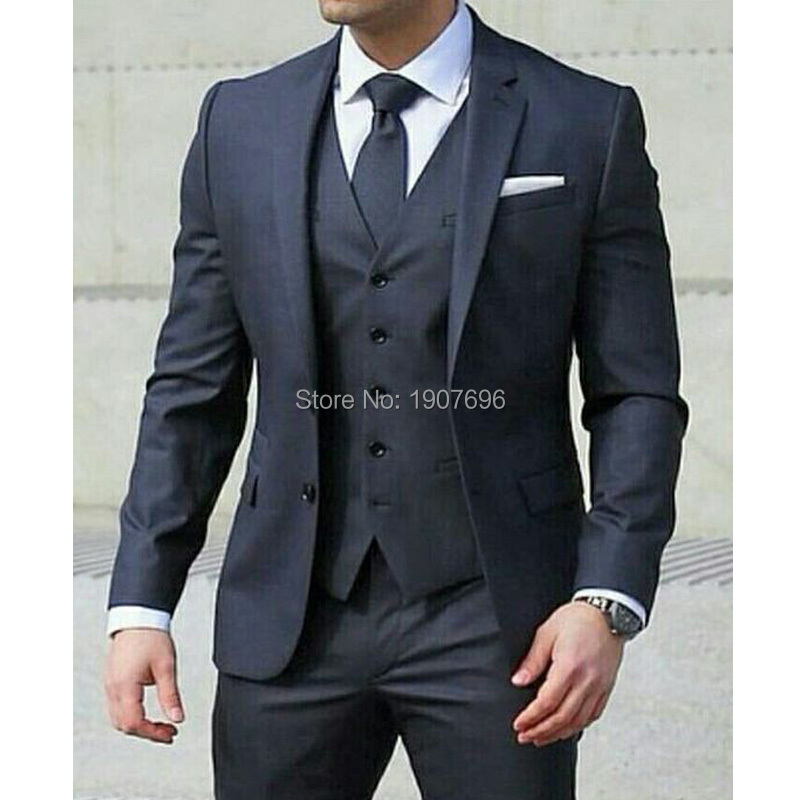 Navy Formal Men Suits for Wedding Three Piece Jacket Pants Vest Notched Lapel Custom Male Blazer 2018 New Clothing in Suits from Men 39 s Clothing