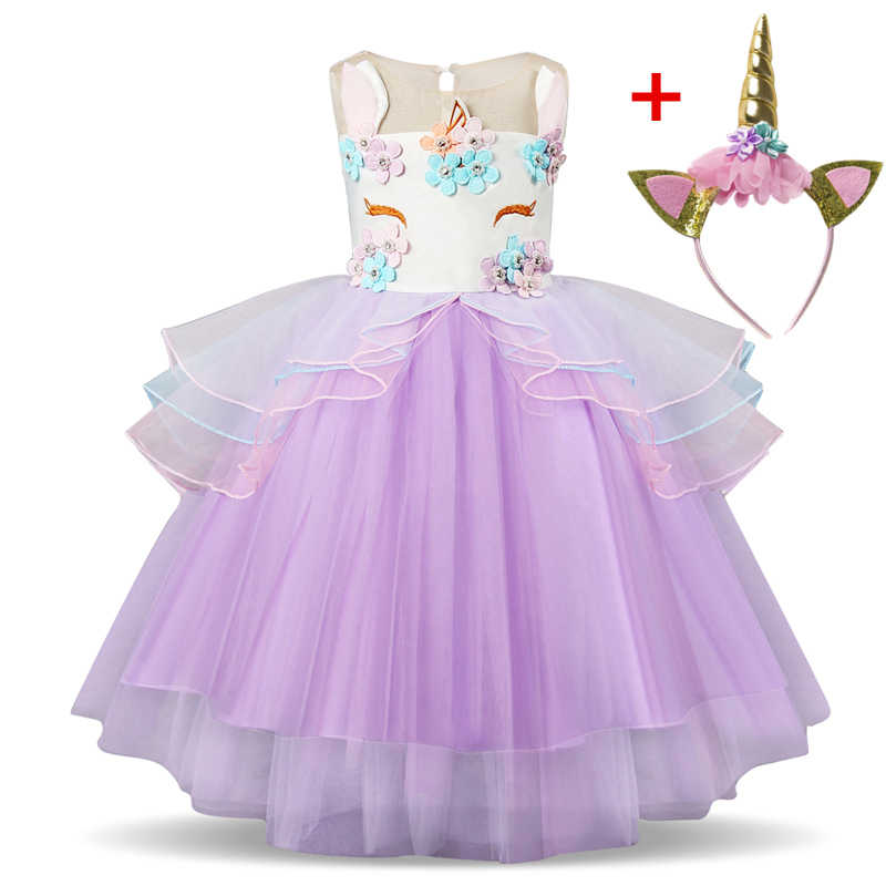 72d34856ba326 Fancy Girls Unicorn Tutu Dress Pastel Rainbow Princess Girls ...