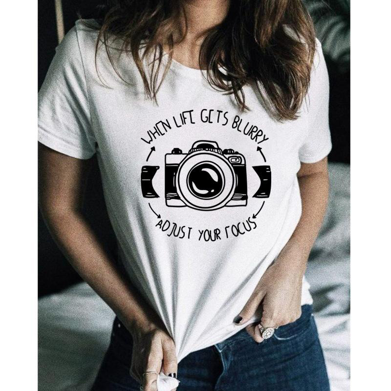 When Life Gets Blurry, Adjust Your Focus T-Shirt Photographer Gift Idea Camera T-Shirt Funny Humor White Tumblr Shirt Clothing