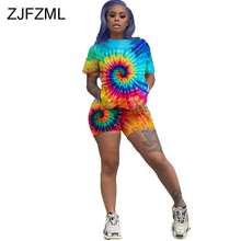 цена на Rainbow Tie Dye Sexy Two Piece Set Summer Plus Size Beach Outfits Women Short Sleeve T-Shirt And Biker Shorts Casual Tracksuits