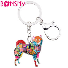 Bonsny Metal Shiba Inu Key Chain Key Ring Bag Charm Enamel Dog Keychain Accessories Souvenir Fashion Animal Jewelry For Women(China)