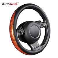 AUTOYOUTH Pokrywa Koła Kierownicy Samochodu Mały Czarny Lychee Wzór Crescent Wood Grain Uniwersalny 38 cm/15 cal Car Styling dla Toyota