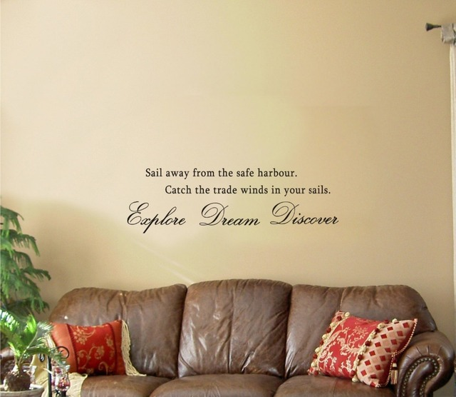 Inspirational Quotes Sailing: Sail Away From The Safe Harbour. Vinyl Wall Art