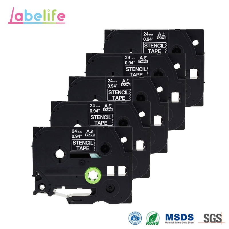 Labelife 5 Pack STE151 Black Stamp Stencil Cassette Tape 24mm x 3m STE 151 ST151 ST