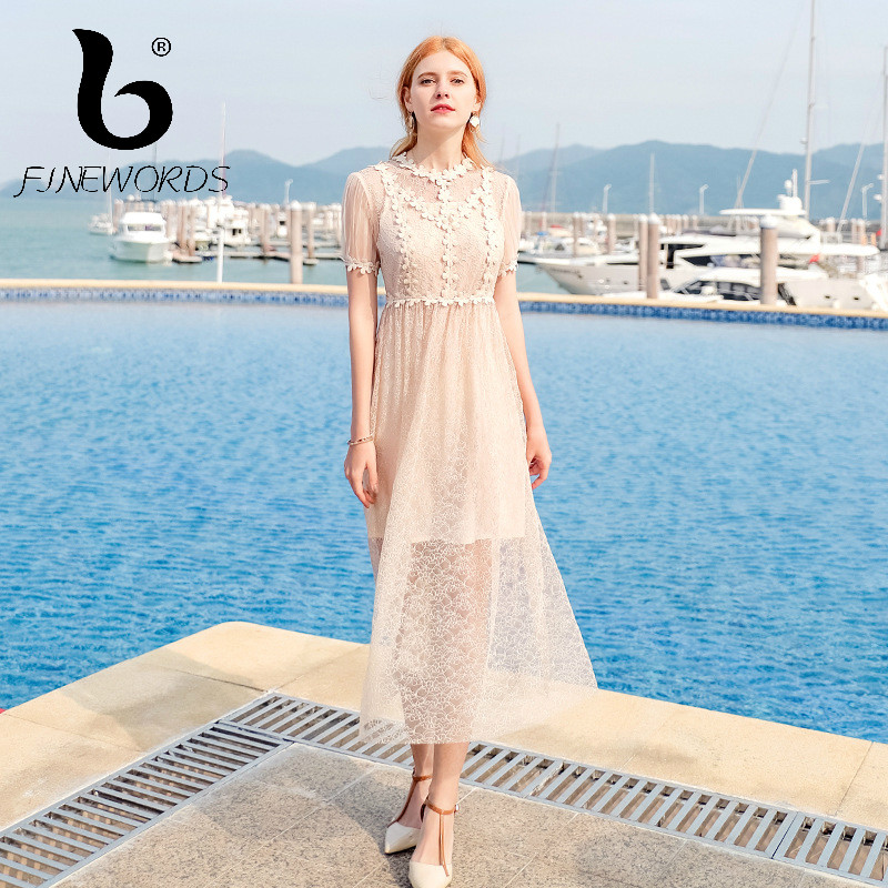 2893a7450b13b FINEWORDS 2018 лето Vestido кружевное платье женское элегантный ...