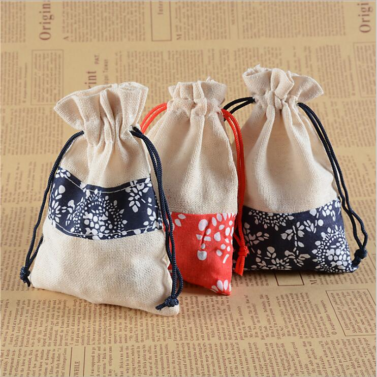 50pcs/lot Dark blue and Red linen cloth gift bag Wedding party candy packaging box Jewelry storage bag Holiday party supplies