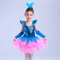Girl Competition Dance Dress Latin Samba Chacha Ballet Feather Sequin Performance Dancewear 110 160size