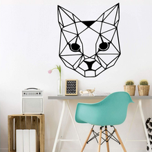 Geometric Cat Head Wall Decal Baby Nursery Kids Room Pet Animal Sticker Bedroom Play room Vinyl Home Decor