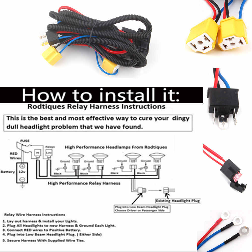 h4 headlight fix dim light relay wiring harness system 2 headlamp light  bulb