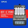 Original opus bt-c700 nicd nimh lcd inteligente cargador de batería de actualización de bm110 para aaa 16340 14500 rcr123 aa envío libre