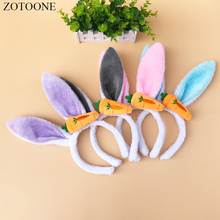 ZOTOONE Wedding Party Easter Decoration Sequined Plush Rabbit Ears Headband Cosplay Bunny Girl Gift for Girlfriend and Child D 20pcs new cute easter bunny ears rabbit headband gift party fancy dress cosutume kids girl nice hairwear new
