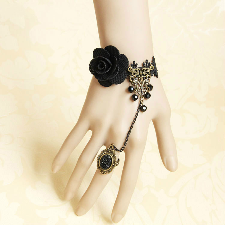 Gothic Vintage Rose Bracelet with ring one-piece chain original handmade DIY jewelry animation cos hand jewelry woman