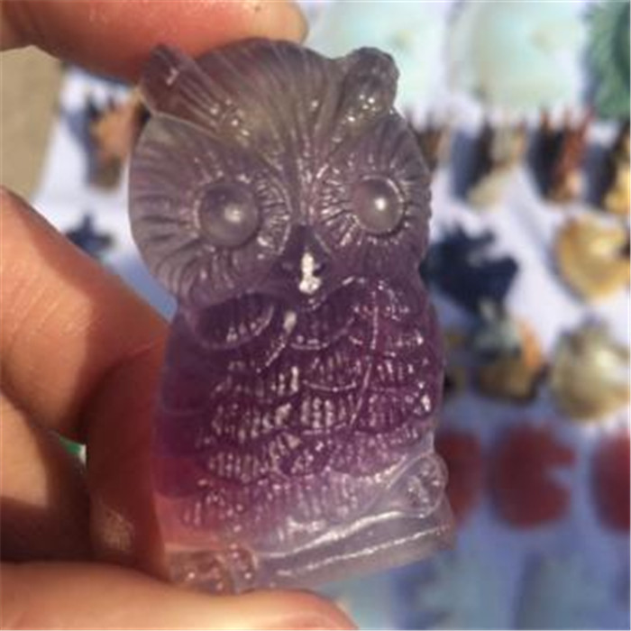 1PC Natural Figurines Handmade Natural Rose Crystal Owl Statue Craft Carved Natural Stone Mineral Animals Statue